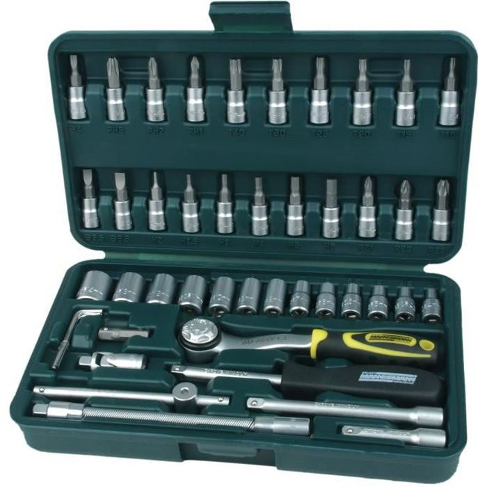 Outils Coffret Kit de 46 pièces Clé à cliquet et douilles Couplage rapide NEUF