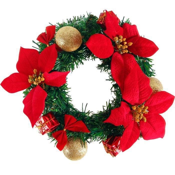 Couronne de no l d co fen tres 25cm rouge achat for Achat decoration de noel
