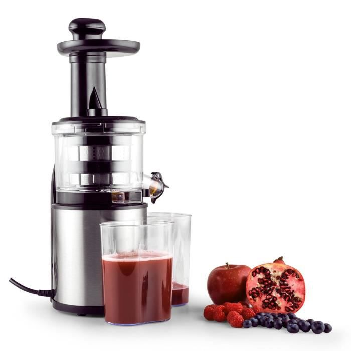 klarstein flowjuicer slow juicer extracteur de jus pour jus de fruits et l gumes 80 tours. Black Bedroom Furniture Sets. Home Design Ideas