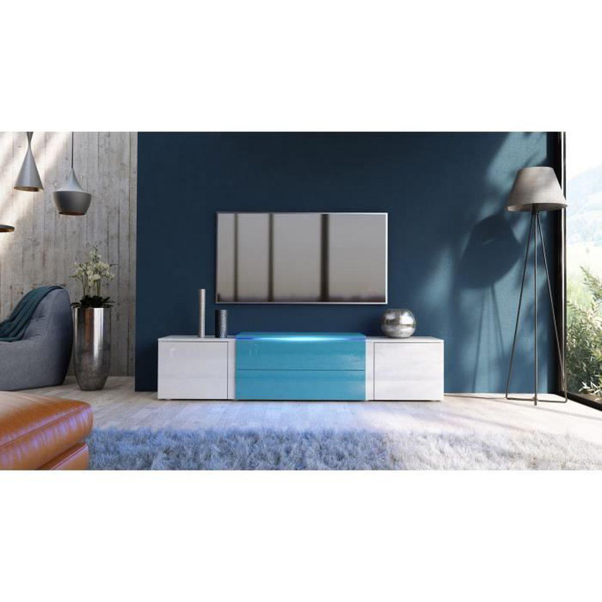 Meuble Tv Blanc Et Bleu Pétrole Laqué Avec Led Rvb 167 Cm