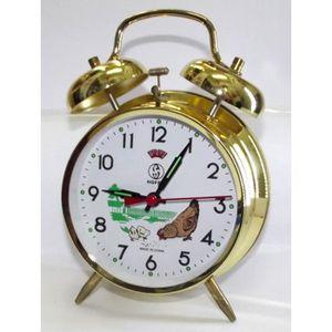 RÉVEIL SANS RADIO réveil mécanique métal doré horloge cadran 10cm
