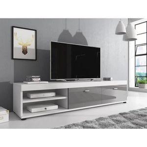 MEUBLE TV ELSA Meuble TV contemporain décor Blanc et Gris  -