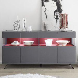 BUFFET - BAHUT  Enfilade lumineuse 4 portes design gris et rouge C