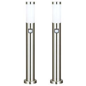 LAMPE DE JARDIN  2 x lampadaire acier inoxydable luminaire sur pied