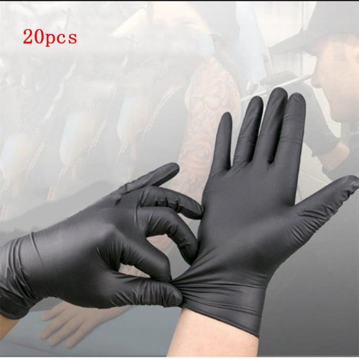 Gants 20pcs sans latex jetables de tatouage de soin de beauté de nitrile noir @Yun731