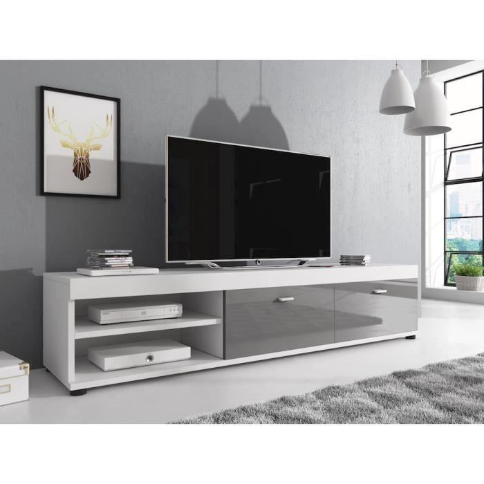 ELSA Meuble TV contemporain décor Blanc et Gris - 140 cm