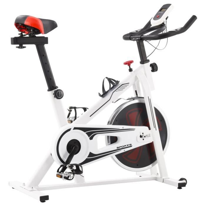Vélo d'appartement-Vélo Cardio Biking spinning d'Exercice avec capteurs de pouls Maison Entraînement Gym- Blanc et rouge -97 x 46 x