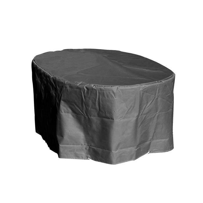 GREEN CLUB Housse de Protection Table Ovale de Jardin Haute qualité Polyester L 250 x l 110 x h 70 cm Couleur Anthracite