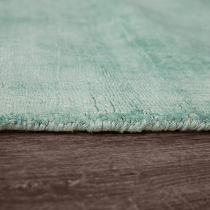 Tapis Fait Main Haut De Gamme 100 % Viscose Vintage Tendance Couleur Pastel Vert [80x150 cm]
