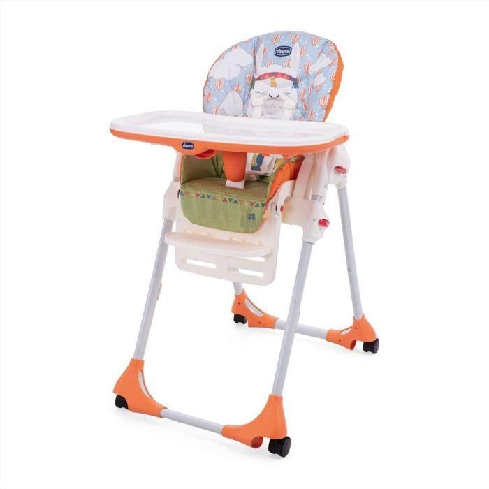 Chaises hautes, sièges et accessoires Chicco - Chaise Haute Bébé Polly Easy - 4 Roues - Réglable, Pratique et Compacte - 413243