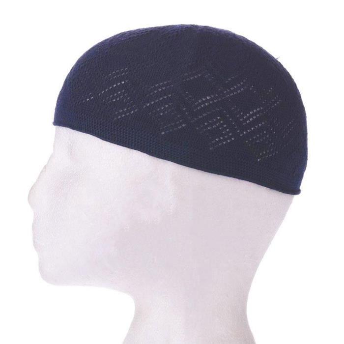 Garçon hommes Kufi koofi chapeau Topi crâne casquette islamique musulman prière Topi tête porter bleu