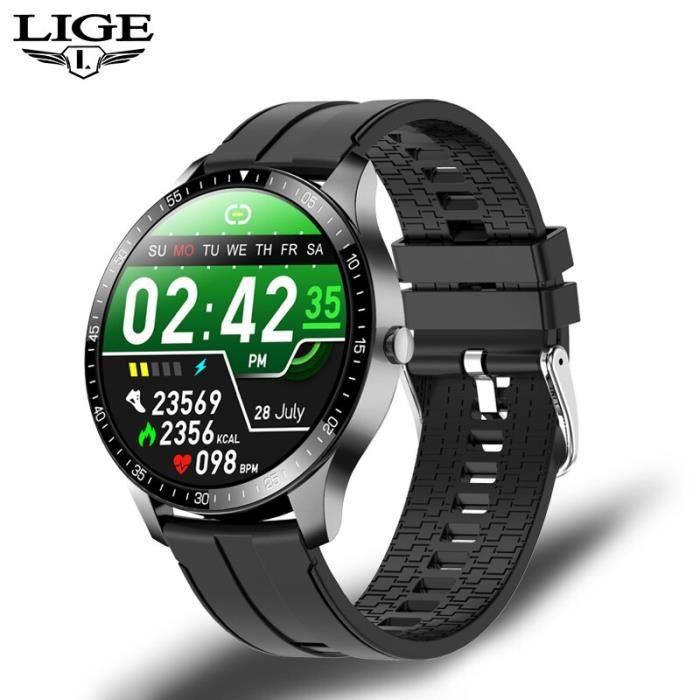 LIGE – montre connectée de sport pour hommes, étanche, moniteur d'activité physique, de fréquence cardiaq Silicone black -CLAT2588