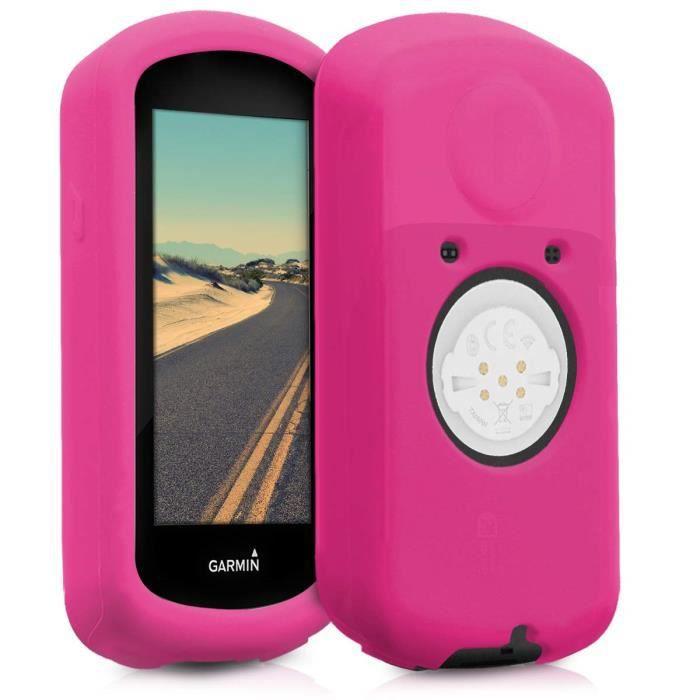 kwmobile Housse GPS vélo - Accessoire pour Garmin Edge 1030 - Protection boitier navigateur - Étui en Silicone Fuchsia