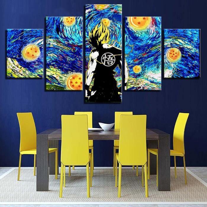 LB0950 Toile abstraite mur Art cadre peintures 5 panneau dessin animé Dragon Ball décor à la maison moderne modulaire œuvre photos a