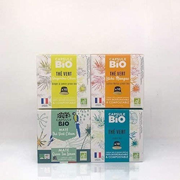 CAPSUL BIO coffret thés detox 4 boîtes Thé vert bio natureThé vert bio Litchi MangueThé vert bio Gingembre Citron et Maté Thé