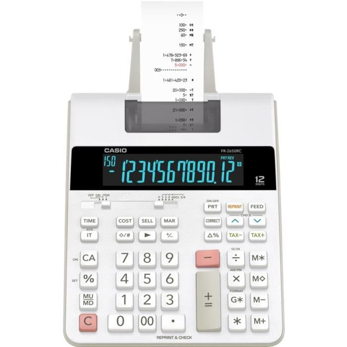 CASIO Calculatrice imprimante FR-2650RC-W-EH noire