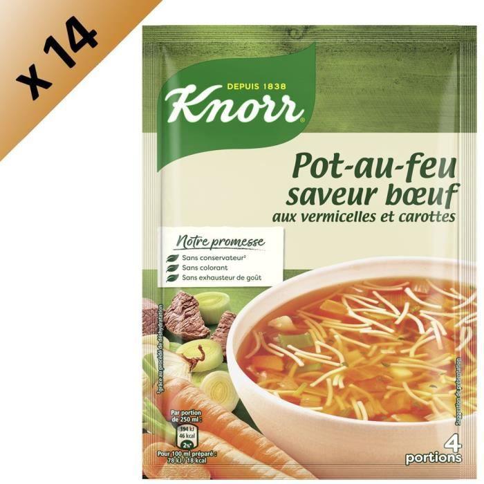 KNORR Soupe Pot au Feu aux Vermicelles et Carottes - Lot de 14x 67 g