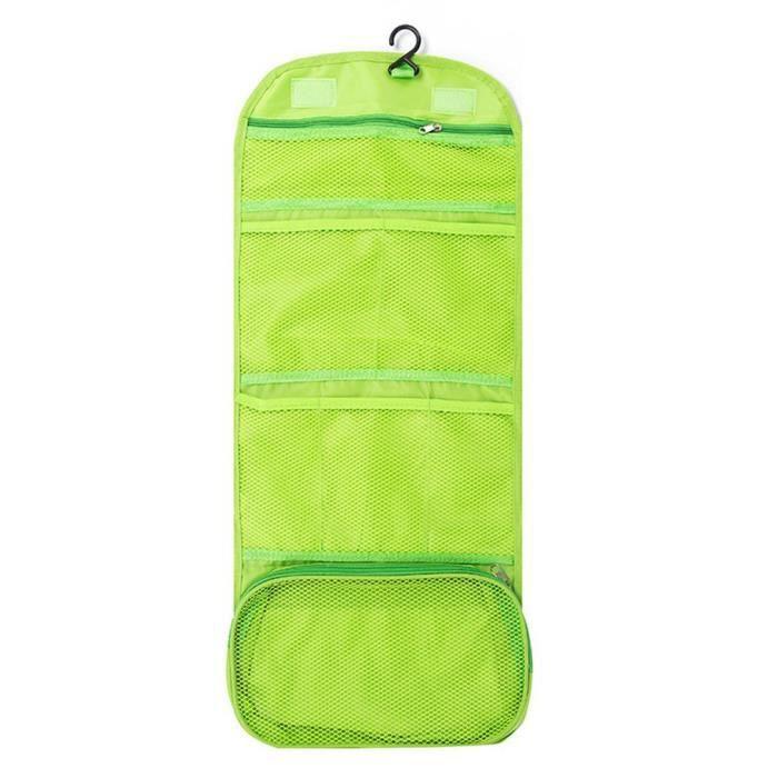 Trousse de toilette de voyage multifonctionnelle, rangement pliable extérieur pour le maquillage et le lavage vert