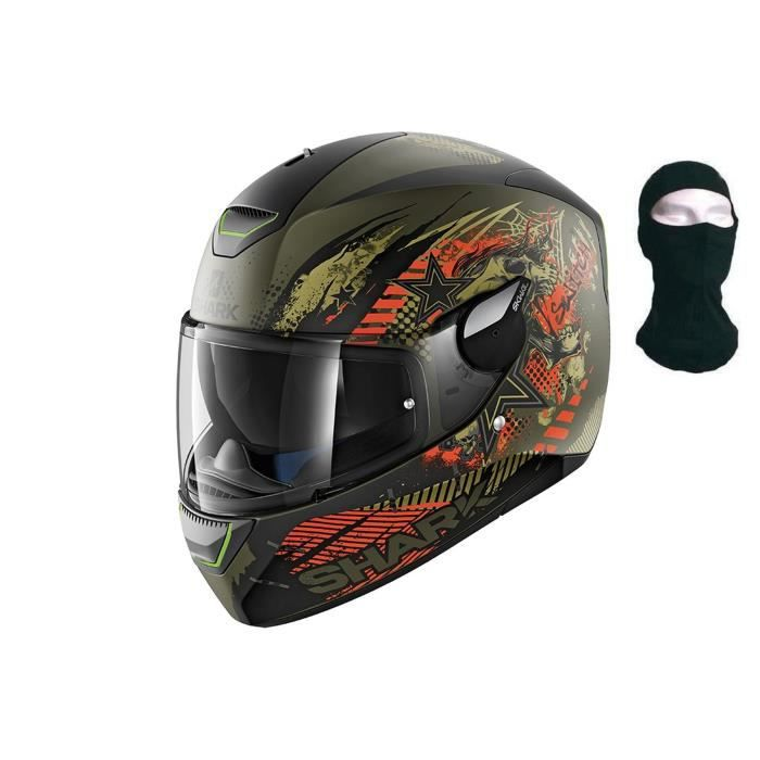 SHARK Casque Moto Intégral Skwal Switch Riders Mat + Cagoule