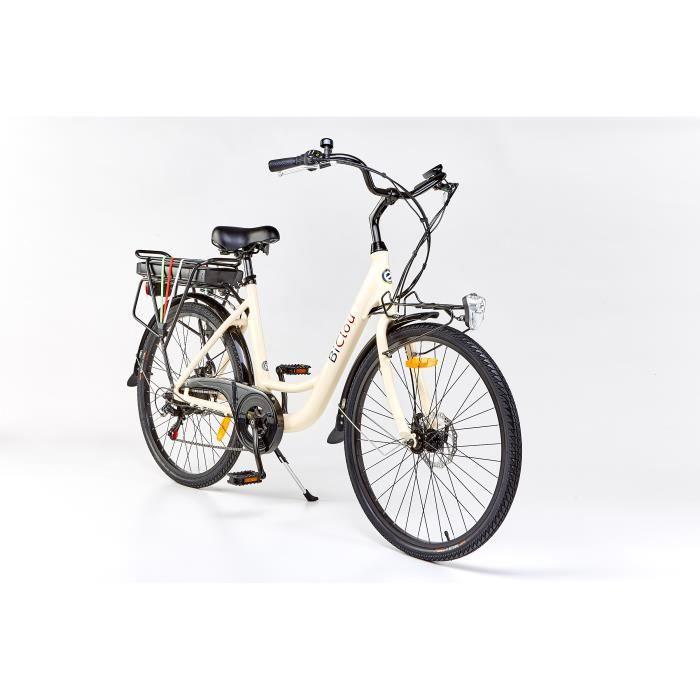 Vélo électrique BiClou Porteur 26 ivory : mot. roue arrière 250W batterie 280Wh - roues 26 pouces - autonomie 40km - garanti 3 ans