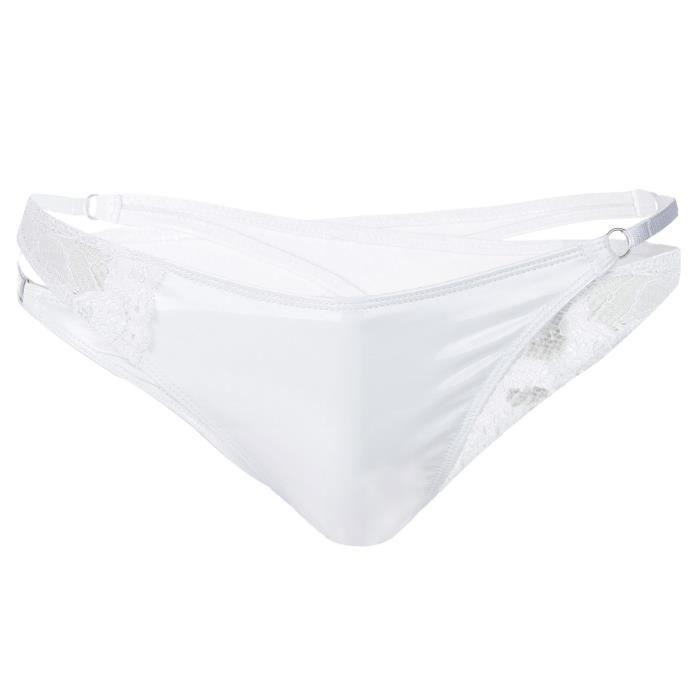 Freebily Lingerie Homme String Slip Fesse Nu Taille Basse Sous-vêtement en Cuir verni Wetlook Thong T-Back Bikini Underwear M-XXL
