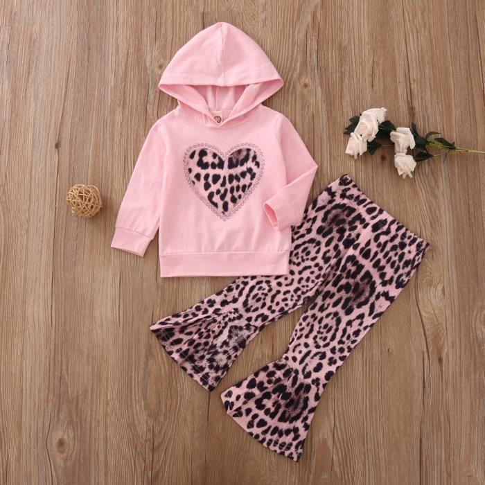 Nouveau-né bébé filles ensemble chandail à capuchon et pantalon imprimé léopard coeur diamant - Noir