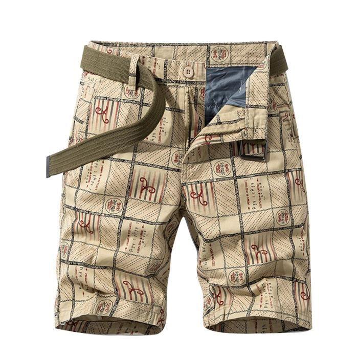 Shorts de Travail Homme Cargo Chino Shorts D'Athlétisme Shorts D'Entraînement Lâche Shorts Casual Shorts avec Ceinture,Kaki