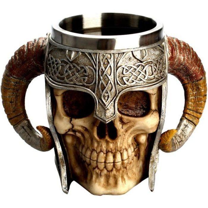 Tasse de crâne en acier inoxydable tasse de bière de thé 3D Viking résine Tankard VERRE A BIERE - CHOPE A BIERE - BOLEE A CIDRE