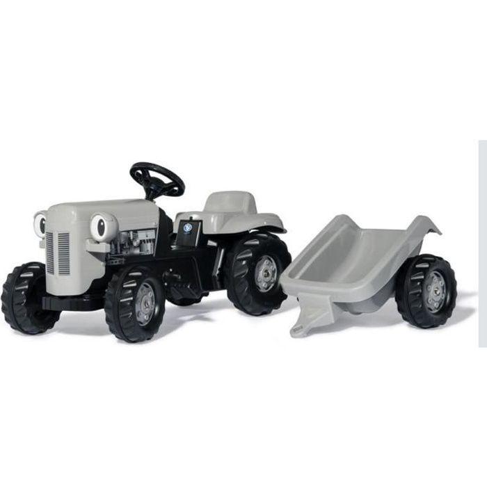 ROLLY TOYS RollyKid Tracteur à pédales gris Little Grey Fergie et sa remorque