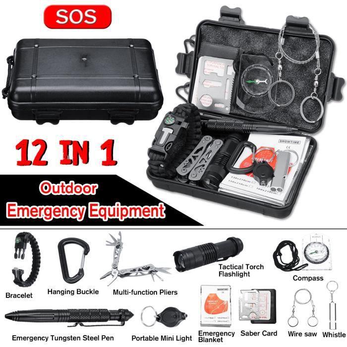 Kits de survie d'urgence 12 en 1,Multi outils de survie professionnelle Sécurité à l'extérieur Équipement de défense pour voyager