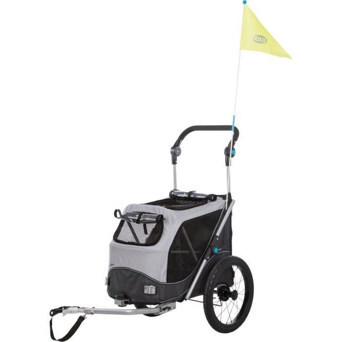 TRIXIE Roulotte de vélo - pliable - S: 58 × 93 × 74/114 cm - Gris - Pour chien