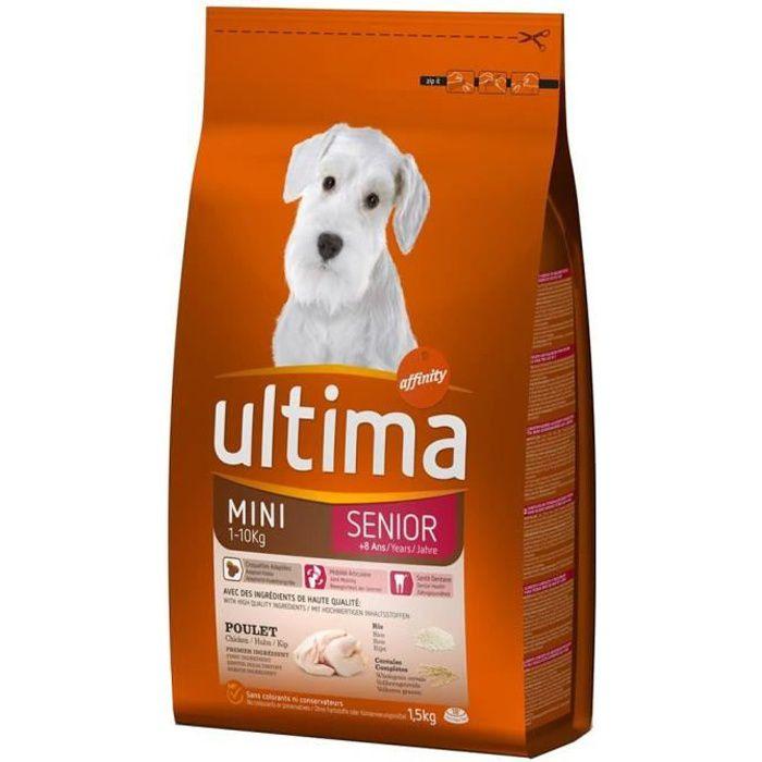 Ultima Croquettes Chiens Senior +8 Ans Mini 1-10 Kg Poulet Riz Céréales Format 1,5Kg (lot de 3)