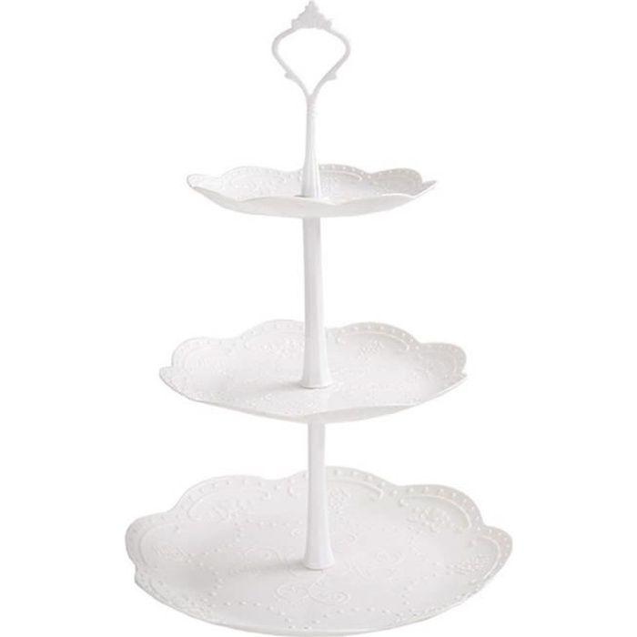 Présentoir à Gâteaux 3 Etages en Plastique Plateau de Dessert Cupcakes Bonbons et Fruits Détachable pour Mariage Fête Soirée