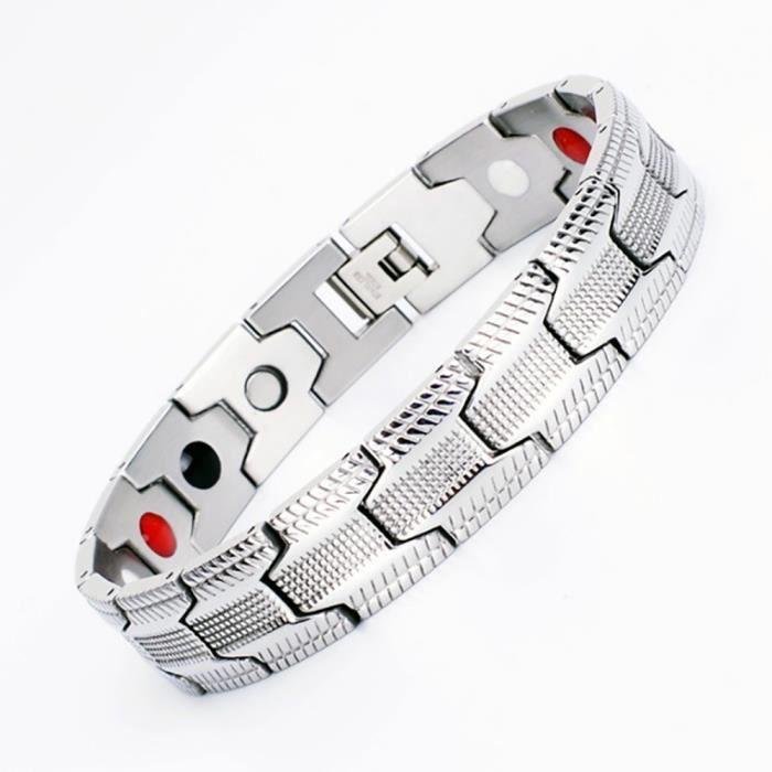 Bracelets Pour Hommes En Acier Inoxydable Titane Germanium Modele De Pneu Magnetique Argent Gris Achat Vente Bracelet Gourmette Bracelets Femmes Acier Argente Soldes Cd