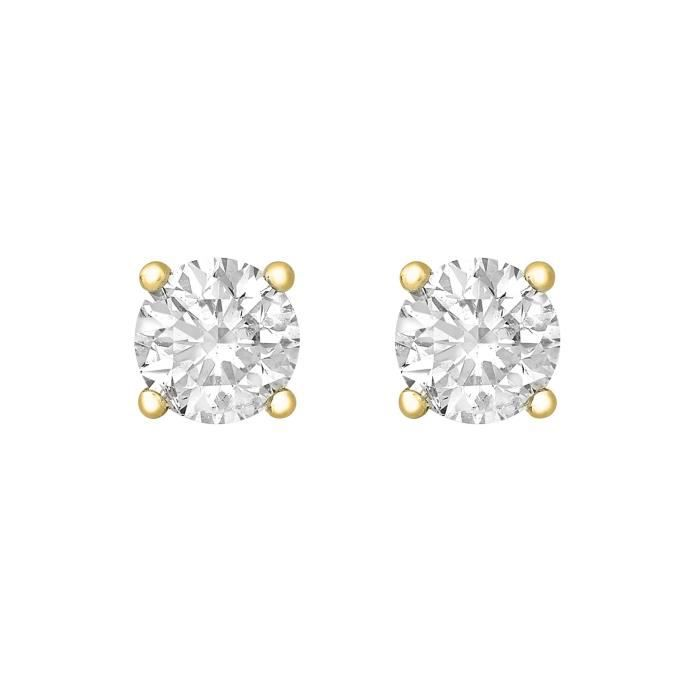 Fine Earring 9 Carats 375-1000 Plaqué Or Ronde EECZV