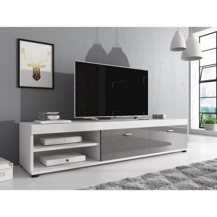 elsa meuble tv contemporain d cor blanc et gris 140 cm achat vente meuble tv elsa meuble. Black Bedroom Furniture Sets. Home Design Ideas