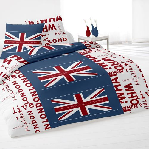 housse de couette et deux taies union jack blanc achat vente parure de dr. Black Bedroom Furniture Sets. Home Design Ideas