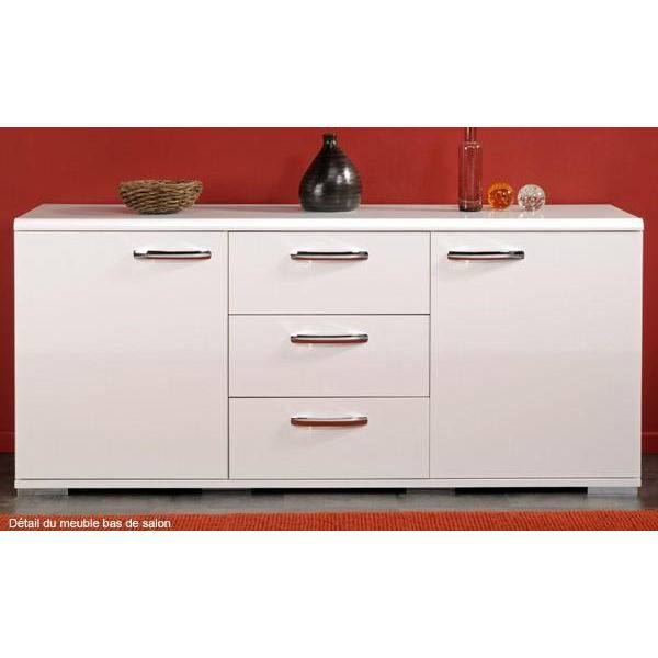 Meuble bas urban city blanc achat vente buffet bahut for Meuble de salon bas