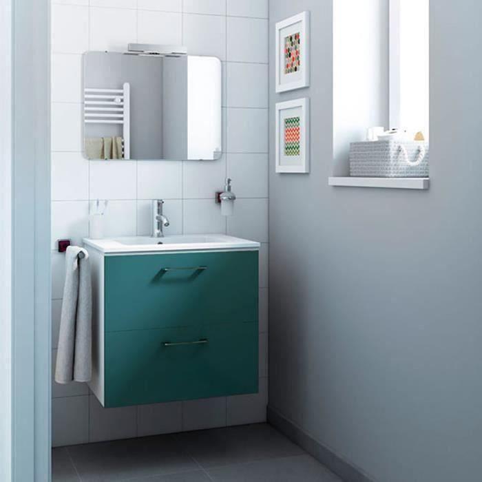 Meuble de salle de bain Happy | Meuble Moderne 60 x 60 x 45 cm | Bleu |  Meuble 2 tiroirs + Vasque céramique