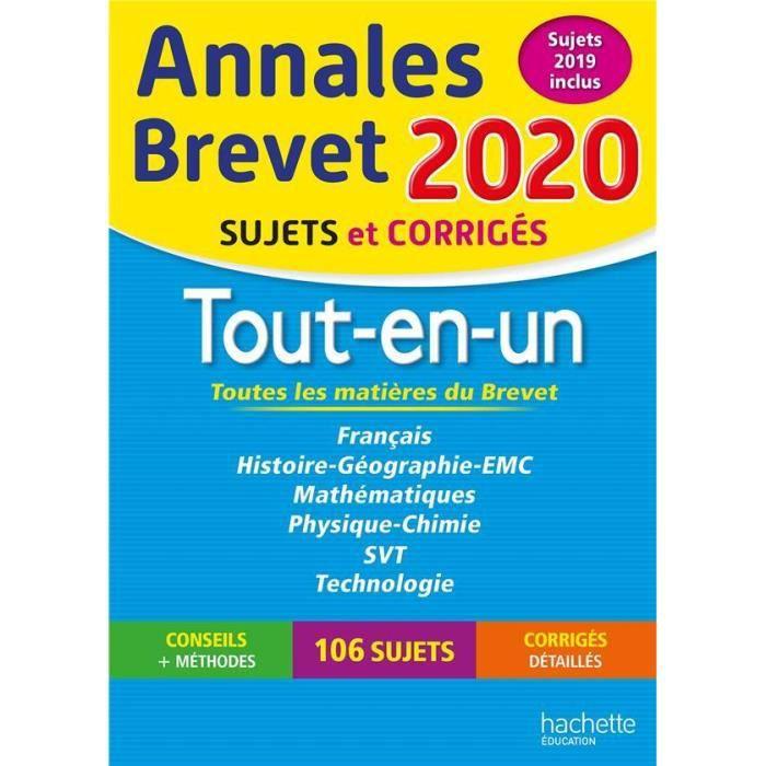 Livre Annales Brevet Tout En Un Sujets Et Corriges Edition 2020 Prix Pas Cher Cdiscount