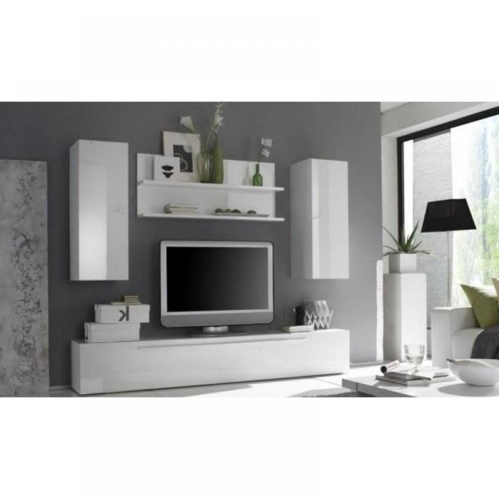 Composition murale tv design primera 6 blanc br achat vente meuble tv - Composition murale ikea ...