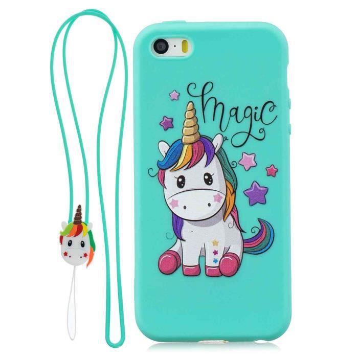 coque iphone 5s 5 se licorne magique silicone en g