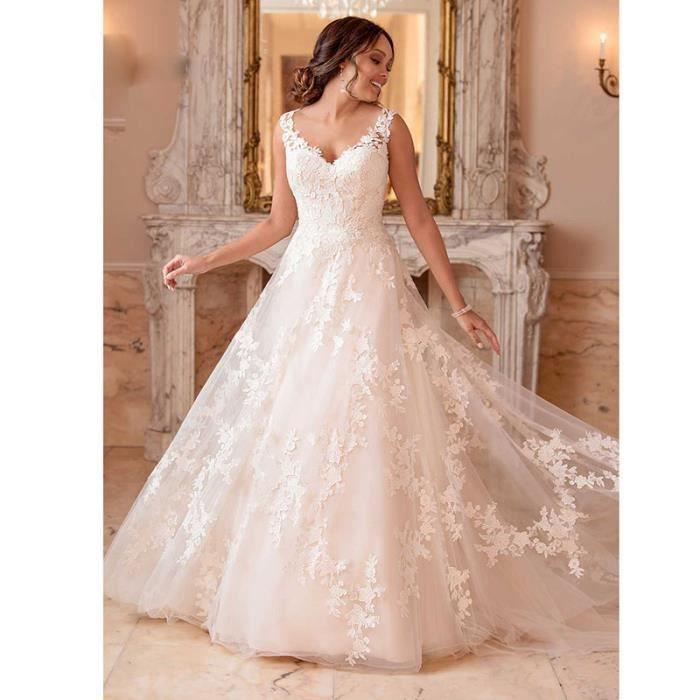 Robe de mariée bohème en dentelle avec col