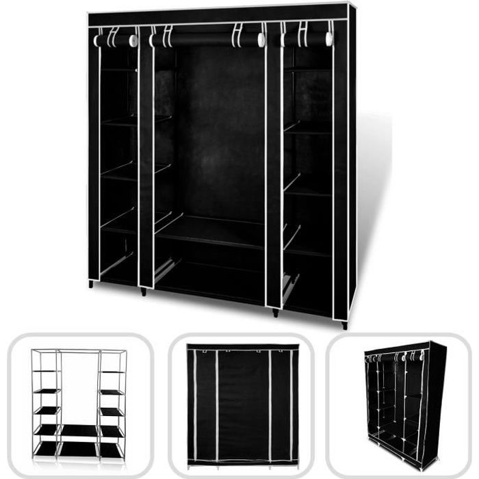 armoire penderie noire en tissu 3 portes achat vente. Black Bedroom Furniture Sets. Home Design Ideas