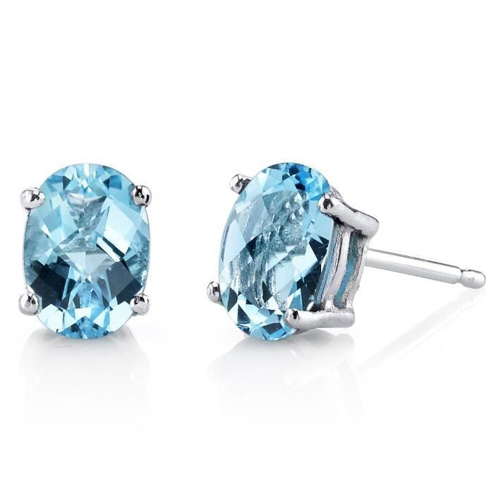 Boucles doreille Clou-Or blanc 14ct-Topaze bleue