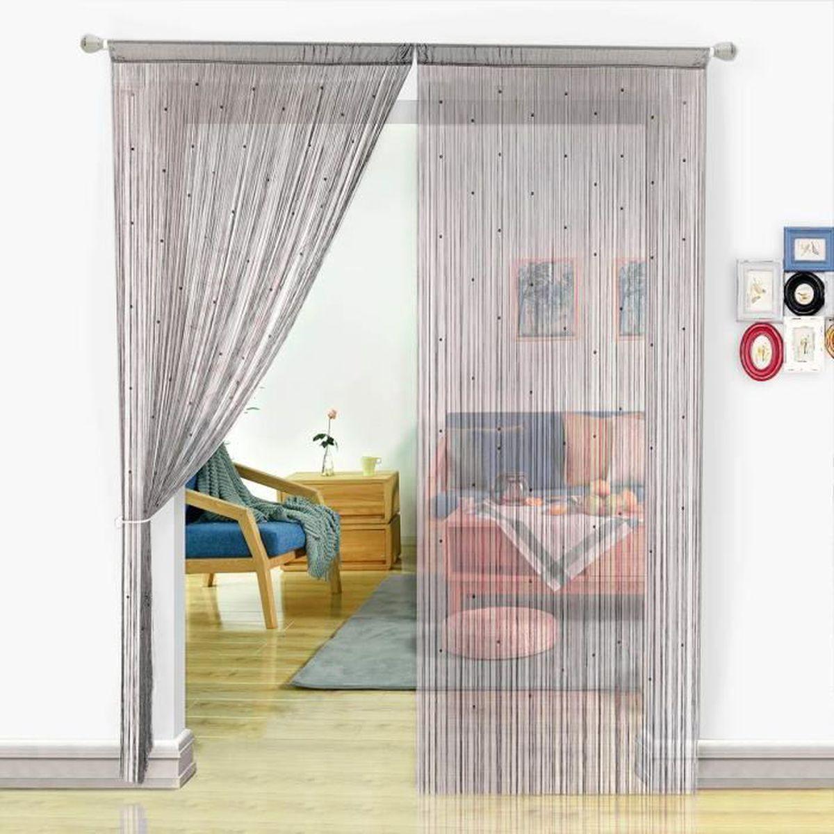 Rideau Pour Porte Fenetre hsylym rideau de fil à perles pour fenêtres ou portes (90x200cm,gris)