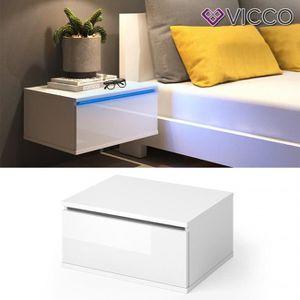CHEVET Table de chevet Table de nuit LED blanc brillant 4
