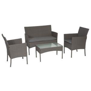 SALON DE JARDIN  Salon de jardin CORDOUE en résine tressée gris 4 p
