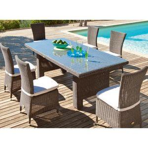 Salon de jardin alu/rattan SAMOA Hespéride + 6 chaises ...