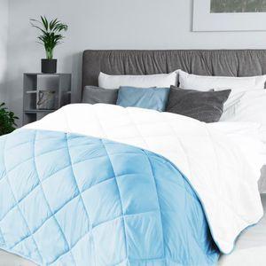 COUETTE Couette 2 en 1 bicolore bleu et blanc 220x240 cm 1